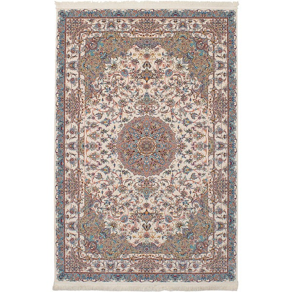 eCarpetGallery Power-loomed Persian Collection Tabriz Ivory/Multicolor Rug (6'7 x 9'10) - 6' x 9'