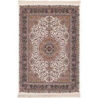 eCarpetGallery Persian Collection Qom Cream/Copper/Ivory Area Rug (6'7 x 9'10) - 6' x 9'