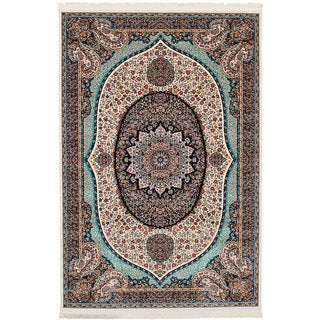 eCarpetGallery Persian Collection Qom Ivory Power-loomed Wool Rug (6'7 x 9'10)