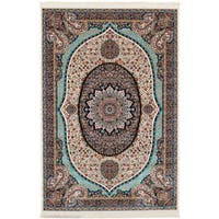 eCarpetGallery Persian Collection Qom Ivory Power-loomed Wool Rug (6'7 x 9'10) - 6' x 9'