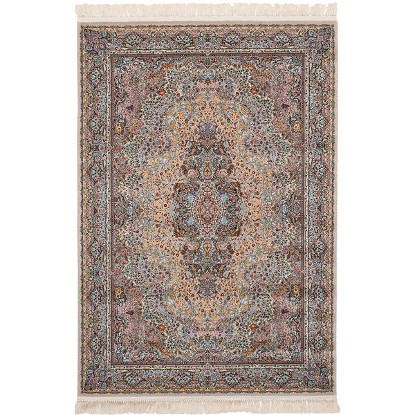 eCarpetGallery Persian Collection Qom Brown Power-loomed Area Rug (6'7 x 9'10) - 6' x 9'