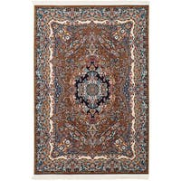 eCarpetGallery Persian Collection Isfahan Power-loomed Brown/Red/Navy Rug - 6'7 x 9'10