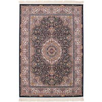 eCarpetGallery Persian Collection Qom Blue Power-loomed Rug (6'7 x 9'10) - 6' x 9'