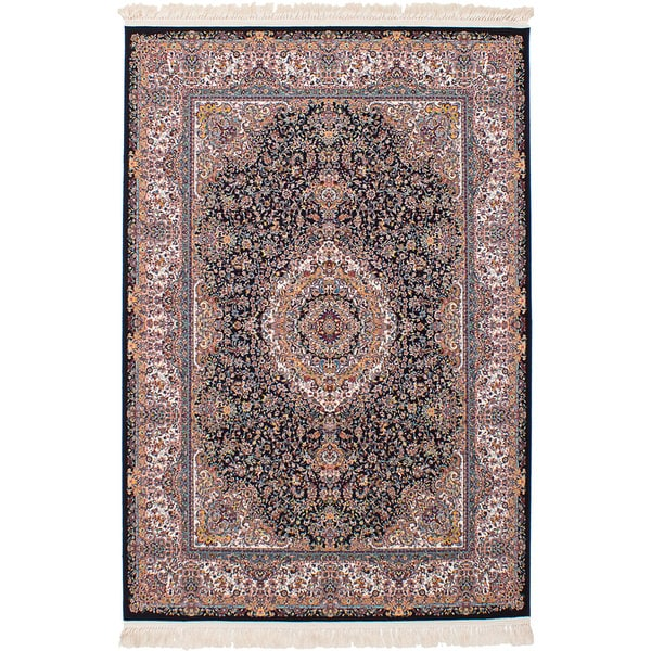 eCarpetGallery Persian Collection Qom Blue Power-loomed Rug - 6'7 x 9'10