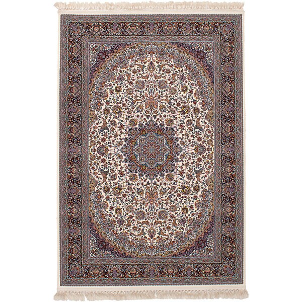 eCarpetGallery Persian Collection Qom Ivory Power-loomed Rug (6'7 x 9'10) - 6' x 9'