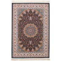 eCarpetGallery Power-loomed Persian Collection Mashad Blue Rug (6'7 x 9'10) - 6' x 9'