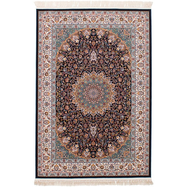 eCarpetGallery Power-loomed Persian Collection Mashad Blue Rug - 6'7 x 9'10