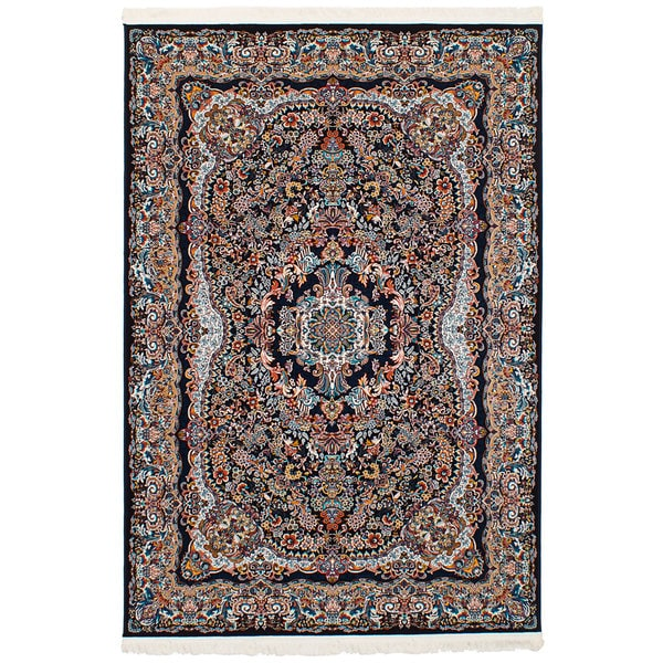 eCarpetGallery Persian Collection Isfahan Blue Power-loomed Rug (6'7 x 9'10) - 6' x 9'