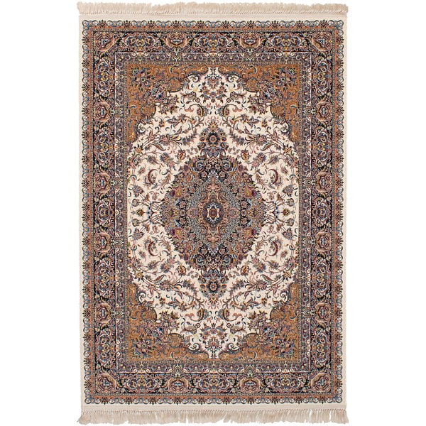 eCarpetGallery Power-loomed Persian Collection Tabriz Ivory Rug (6'7 x 9'10) - 6' x 9'
