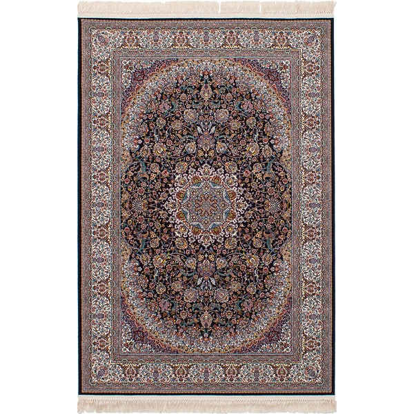 eCarpetGallery Persian Collection Qom Blue Power-loomed Area Rug (6'7 x 9'10) - 6' x 9'
