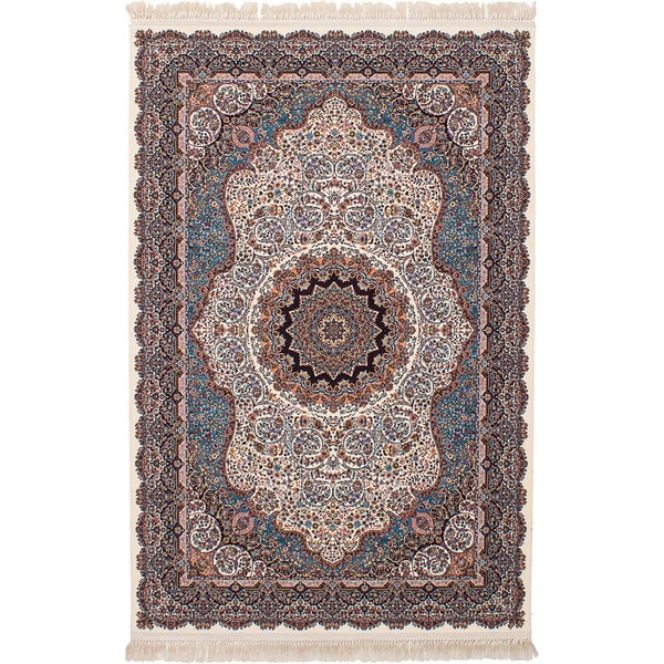 eCarpetGallery Persian Robot Woven Collection Qom Power-loomed Ivory/Multicolored Rug - 6'7 x 9'10