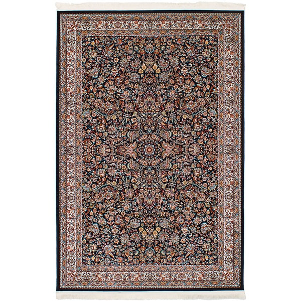 eCarpetGallery Persian Robot Woven Collection Kashan Power-loomed Dark Navy/Multicolored Rug (6'7 x 9'10) - 6' x 9'