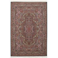 eCarpetGallery Persian Collection Kerman Blue Power-loomed Rug (6'7 x 9'10) - 6' x 9'