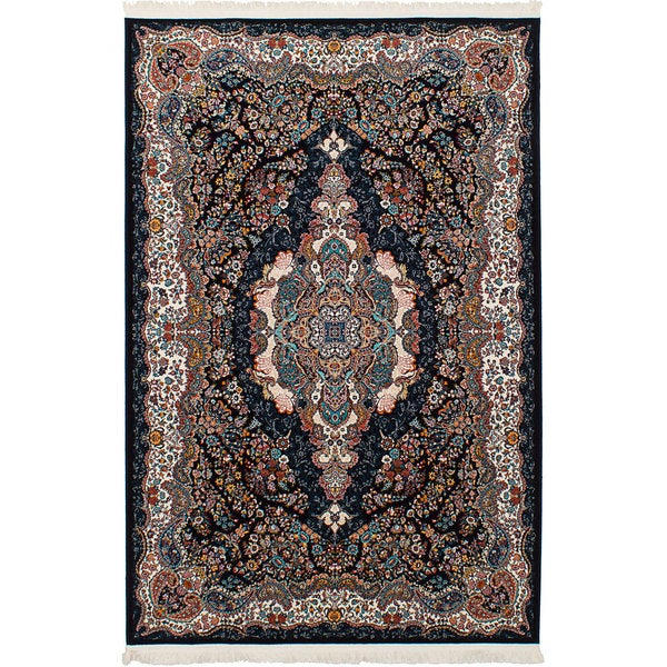 eCarpetGallery Persian Collection Power-loomed Tabriz Blue/Copper/Cream Rug (6'7 x 9'10) - 6' x 9'