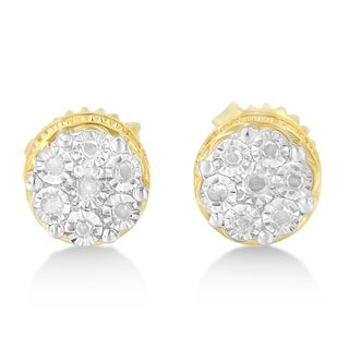 Sterling Silver 0.25ct TDW Diamond Miracle Set Cluster Square Earrings