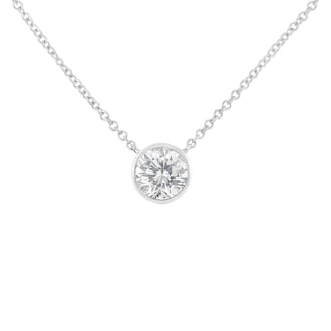 10K White Gold 0.2ct. TDW Bezel-Set Diamond Solitaire Pendant Necklace(H-I,SI2-I1)