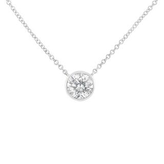 10K White Gold 0.2ct. TDW Bezel-Set Diamond Solitaire Pendant Necklace(H-I,SI2-I1)