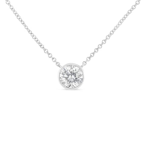 10K Gold 0.5ct. TDW Bezel-Set Diamond Solitaire Pendant Necklace(H-I,SI2-I1)