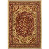 eCarpetGallery Handmade Serapi Antique Wash Red/ Yellow Wool Blend Area Rug (5'3  x 7'5)