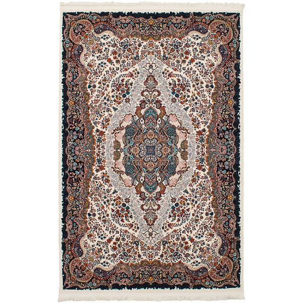 eCarpetGallery Persian Collection Tabriz Ivory Power-loomed Rug - 6'7 x 9'10