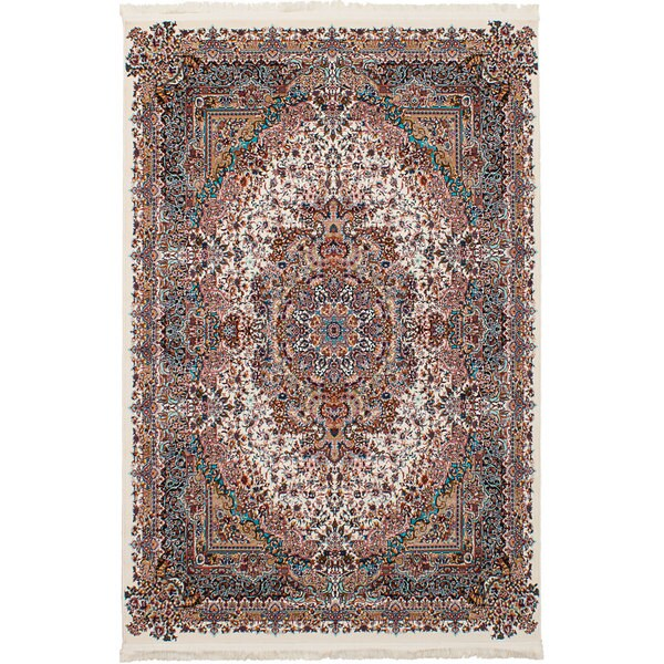 eCarpetGallery Persian Collection Tabriz Ivory Power-loomed Rug (6'7 x 9'10) - 6' x 9'