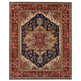 eCarpetGallery Hand-Knotted Serapi Heritage Blue, Red Wool Rug (8'1 x 10'2)