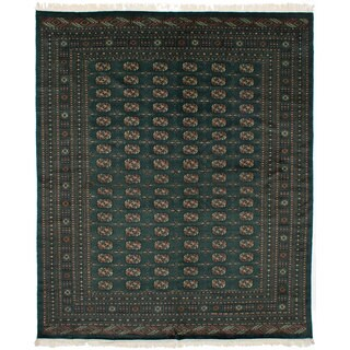 eCarpetGallery Hand-Knotted Finest Peshawar Bokhara Green Wool Rug (8'2 x 9'10)