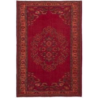 eCarpetGallery Hand-Knotted Melis Vintage Red Wool Rug (6'9 x 10'2)