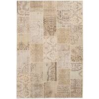 eCarpetGallery Hand-Knotted Vintage Anatolia Patch Yellow  Wool Rug (6'7 x 9'10)