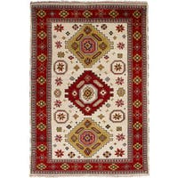 eCarpetGallery Hand-Knotted Royal Kazak Ivory, Red  Wool Rug (6'5 x 9'9)