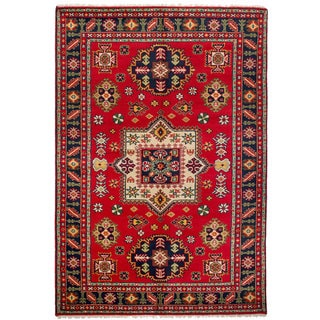 eCarpetGallery Hand-Knotted Royal Kazak Red  Wool Rug (6'1 x 9'2)