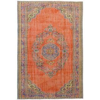 eCarpetGallery Hand-Knotted Melis Vintage Orange Wool Rug (6'0 x 9'0)