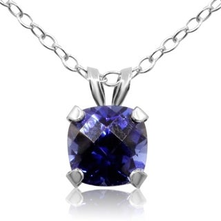 1ct TGW Cushion Cut CreatedSapphire Necklace In Sterling Silver, 18 Inches - Blue