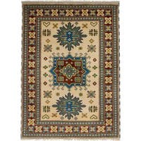 eCarpetGallery Hand-Knotted Royal Kazak Ivory  Wool Rug (5'7 x 7'10)