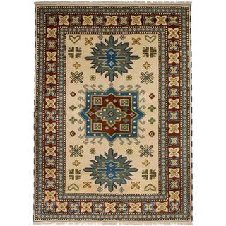 eCarpetGallery Hand-Knotted Royal Kazak Ivory Wool Rug (5'7 x 7'10)