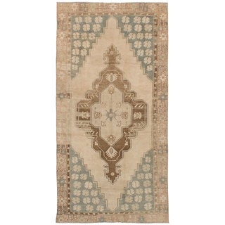 eCarpetGallery Hand-Knotted Antalya Vintage Ivory Wool Rug (4'6 x 9'1)