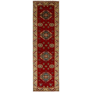 eCarpetGallery Hand-Knotted Royal Kazak Red  Wool Rug (2'8 x 10'0)