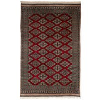 eCarpetGallery Hand-Knotted Finest Peshawar Bokhara Red  Wool Rug (5'3 x 8'2)