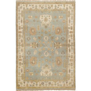 eCarpetGallery Hand-Knotted Royal Ushak Blue Wool Rug (5'0 x 7'9)