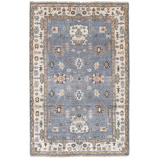 eCarpetGallery Hand-Knotted Jules Ushak Blue Bamboo Silk Rug (4'11 x 7'9)