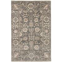 eCarpetGallery Hand-Knotted Royal Ushak Grey Wool, Bamboo Silk Rug (4'6 x 7'0)