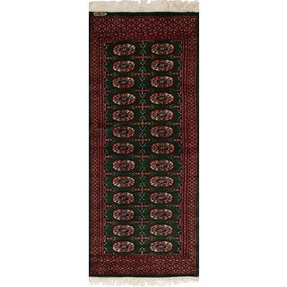 eCarpetGallery Hand-Knotted  Finest Peshawar Bokhara Green  Wool Rug (2'1 x 5'8)