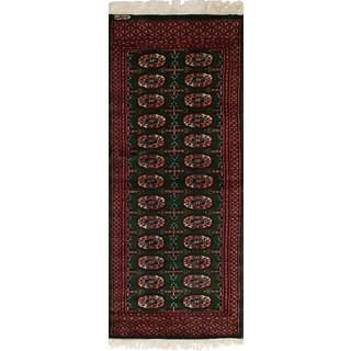 eCarpetGallery Hand-Knotted Finest Peshawar Bokhara Green Wool Rug (2'1 x 5'8)