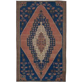 eCarpetGallery Hand-Knotted Anatolian Vintage Blue, Brown Wool Rug (4'2 x 7'2)