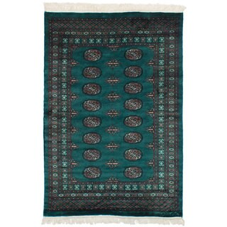 eCarpetGallery Hand-Knotted Finest Peshawar Bokhara Green Wool Rug (4'2 x 6'2)