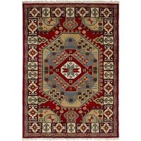 eCarpetGallery Hand-Knotted Royal Kazak Red  Wool Rug (4'1 x 6'0)