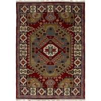 eCarpetGallery Hand-Knotted Royal Kazak Red  Wool Rug (4'0 x 6'0)