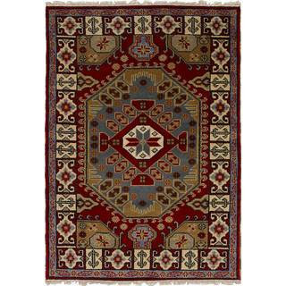 eCarpetGallery Hand-Knotted Royal Kazak Red Wool Rug (4'0 x 6'0)