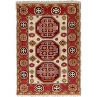 eCarpetGallery Hand-Knotted  Royal Kazak Ivory, Red  Wool Rug (3'11 x 5'10)