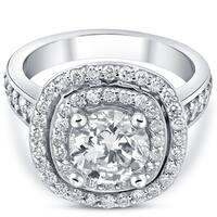 Bliss 10k White Gold 2  1/2 ct TDW Diamond Clarity Enhanced Double Cushion Halo Engagement Ring